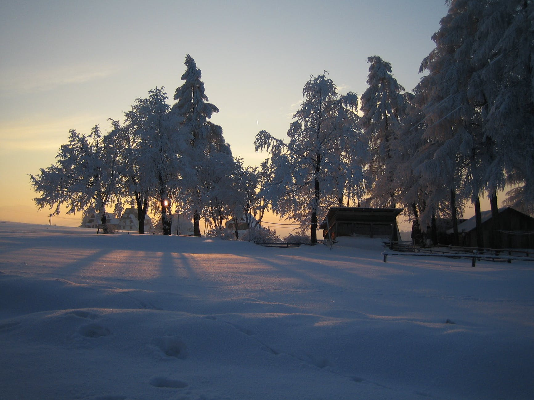 calm sunny day in winter countryside
